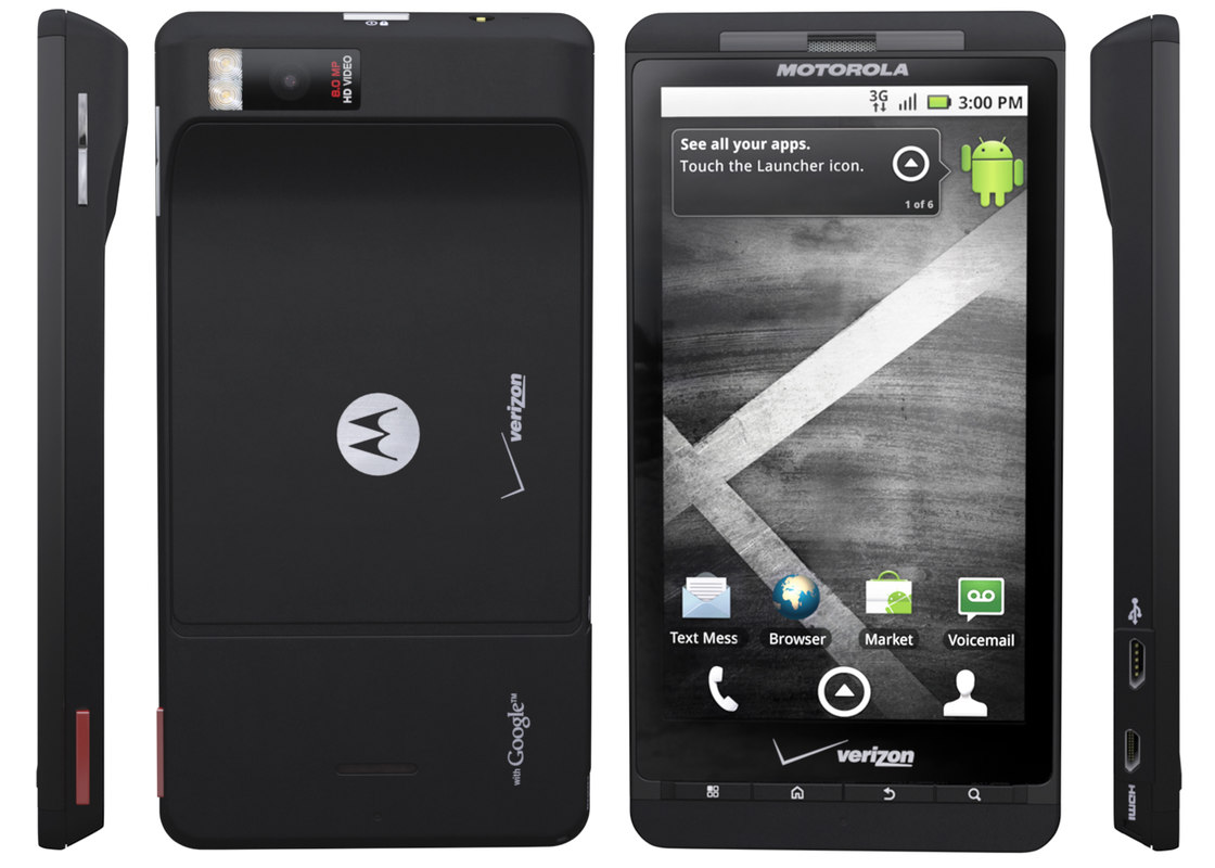 Droid X side, front, back, and side
