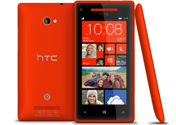 HTC Windows Phone 8X Red front, rear, and side