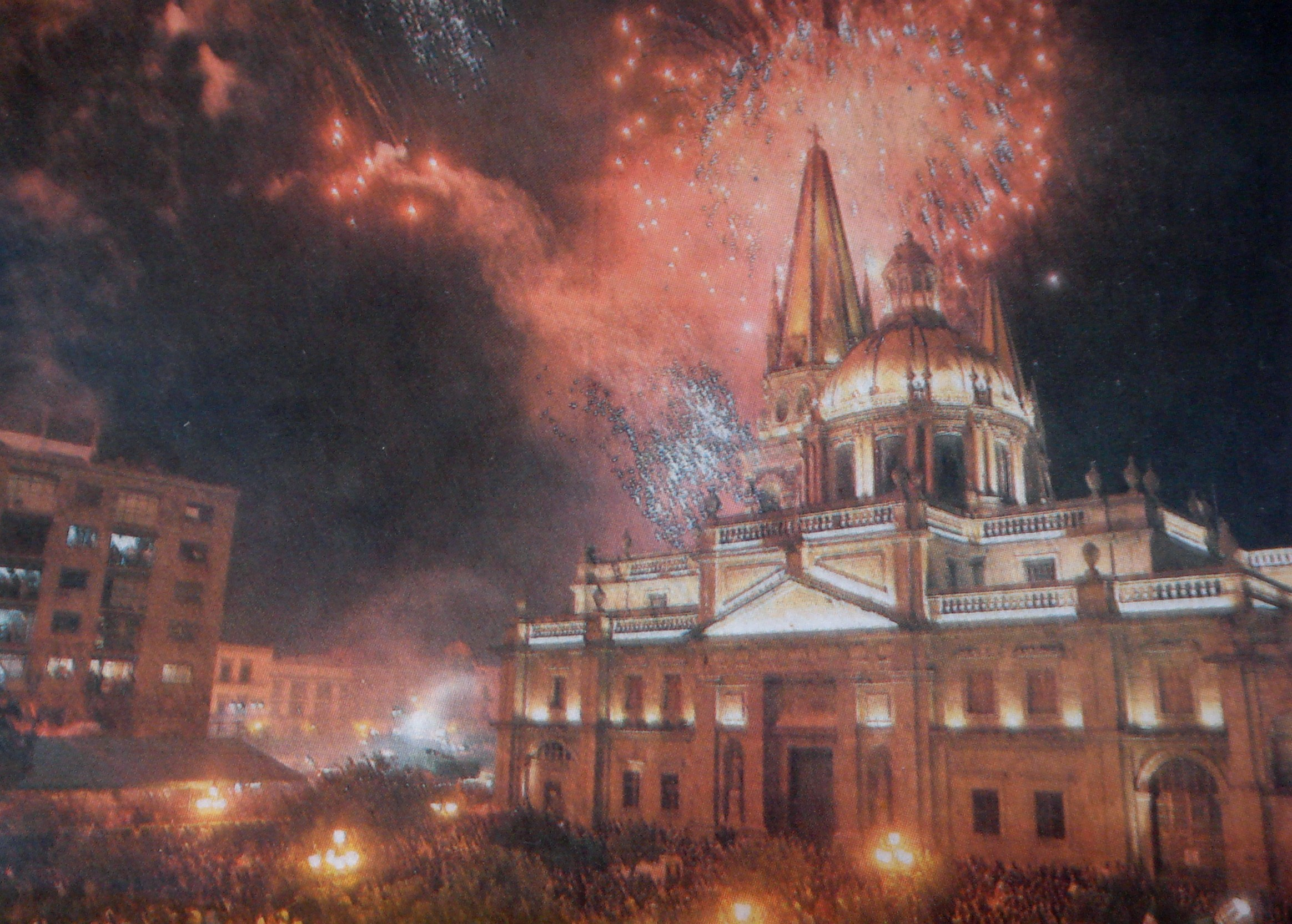 Picture of a newspaper picture of fireworks in Guadalajara