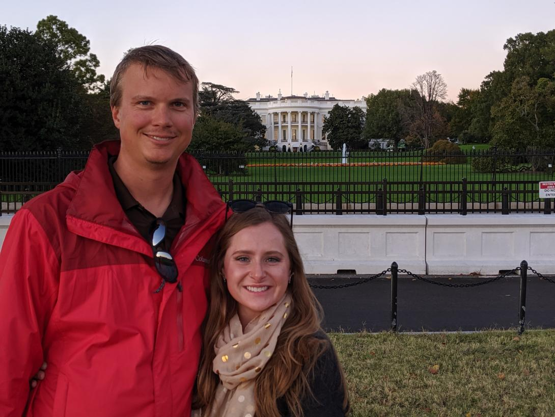 Aaron and Anna with the White House in the background