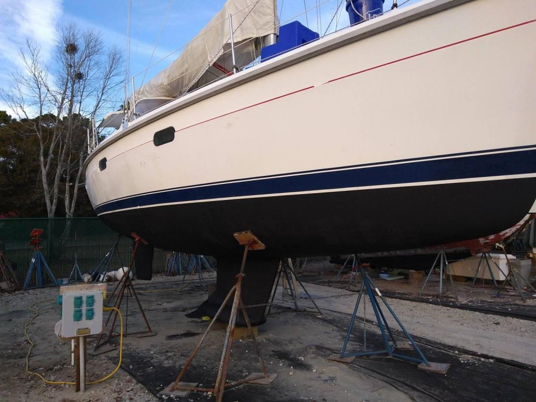 Sailboat with new bottom paint