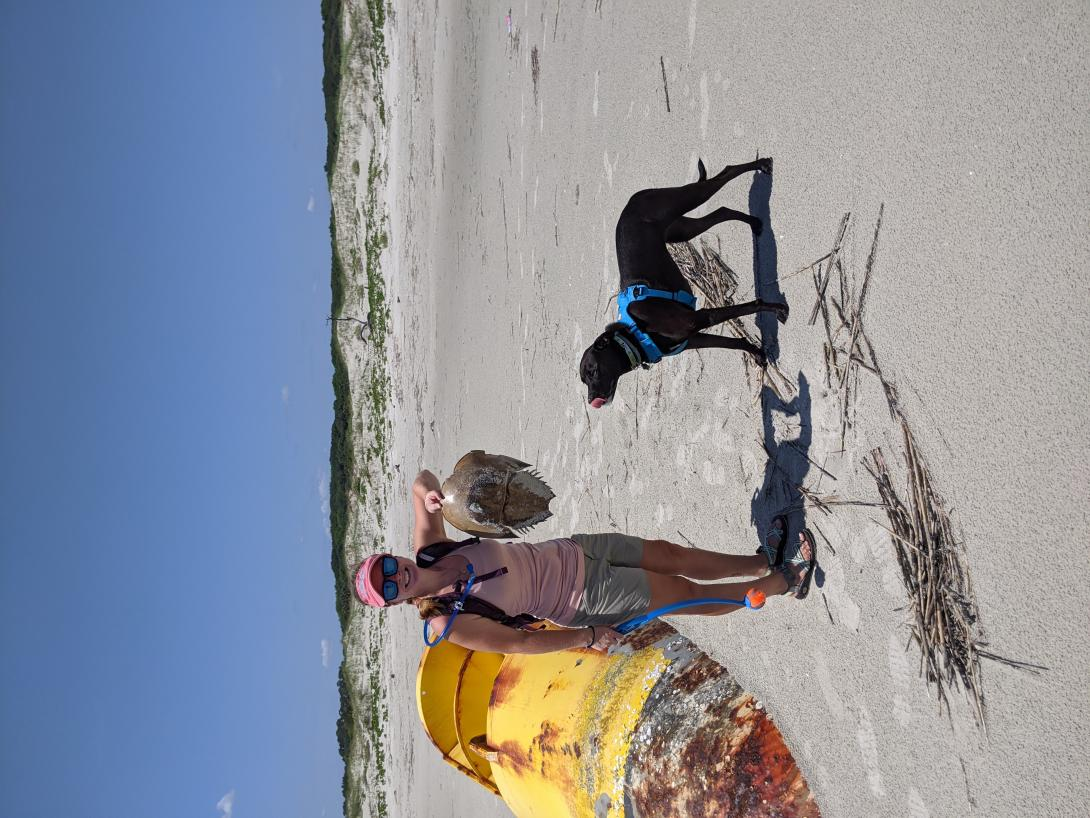 Anna and Louise on the beach with a horseshoe crab
